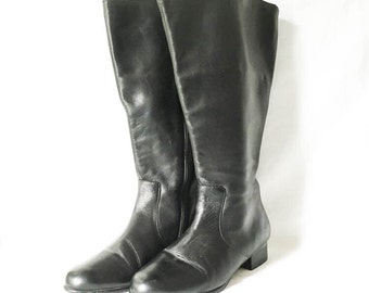 Leather boots - Knee high leather boots size 7WW - Women's black leather tall boots - Womens black dress boots
