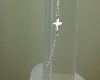 925 sterling silver Side ways necklace/925 sterlign cross necklace /925 catholic jewelry / silver cross jewelry/custom hand made jewelry