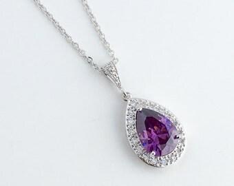 Amethyst Cubic Zirconia Teardrop Bridal Necklace Wedding Purple Crystal Teardrop Pendant Purple Amethyst Rhodium Crystal Wedding Jewelry