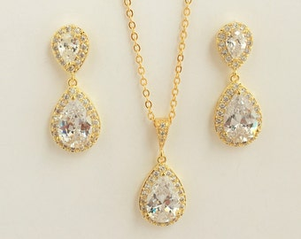Gold Crystal Bridal Set Gold Cubic Zirconia Jewelry Set Wedding Gold Bridal Jewelry Set Bridesmaid Gold Jewelry Set Gold Teardrop Jewelry