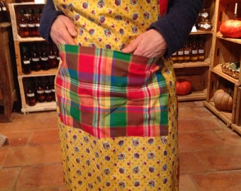 Red and yellow cotton apron