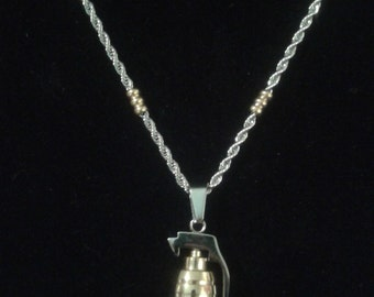 Grenade pendant w/rope necklace.