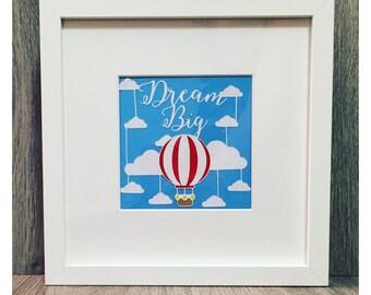 Dream Big Hot Air Balloon Papercut