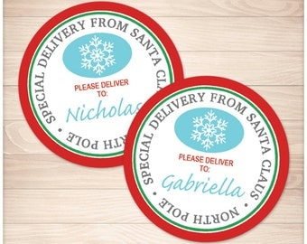 Printable 'Special Delivery from Santa Claus' round DIY Gift Tags or Stickers - Red Christmas North Pole Personalized Name - Editable PDF