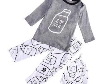 I Love Milk outfit, fast shipping, little boys outfit, baby boys pants, boys shirt, baby boys outfit, boys clothes,