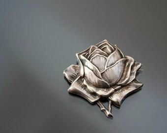 Antique Jugendstil Brooch. Floral. Repousse. Silver 900. Rose Flower