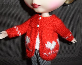 BLYTHE DOLL Red heart Sweater