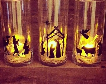 Nativity Vases With Flameless Candles