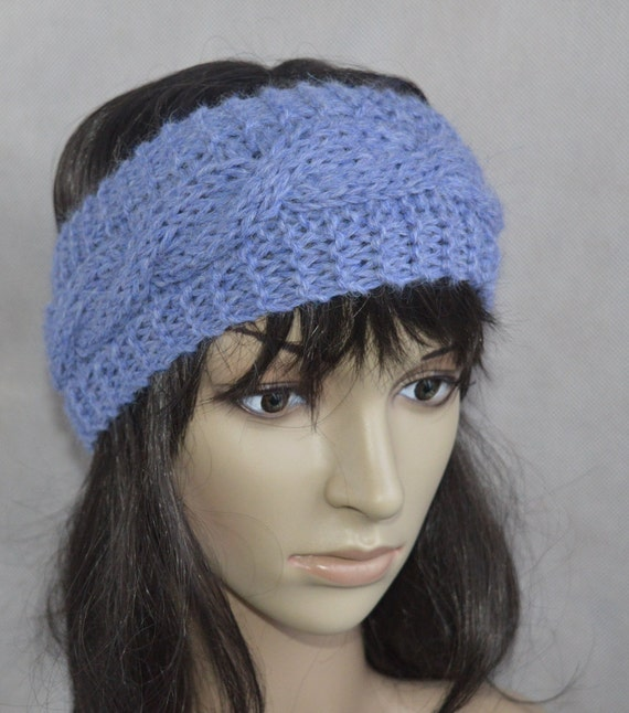 Alpaca Headband Knitting Pattern : Blue Headband Blue Accessories Hand Knit Cable Ear by KnittySunny
