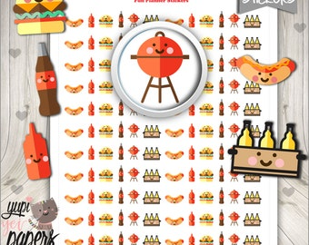 50%OFF - BBQ Stickers, Grill Out, Barbecue, Picnic, Printable Planner Stickers, Stickers, Planner Accessories, Printable Stamps