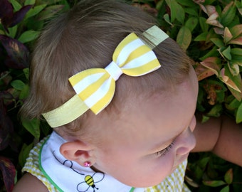 Baby Bow, Boutique Bow, Yellow Bow, Girls Bow, Yellow, Hair Clip, Girls Hair Clip, Baby Headband, Girls Headband, Baby, Headband, Bow, Girls