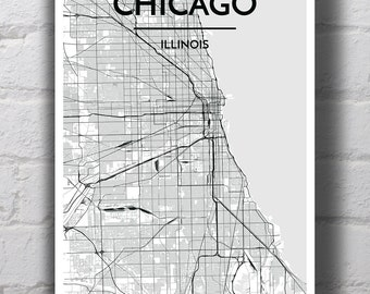 Black & White Chicago City Map Print