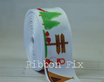 "2 yards 7/8"" White Camping Grosgrain Ribbon - US Designer Print - Travel Tent -Campfire - Outdoor - Summer - Campground - Fishing Lake - Bow"