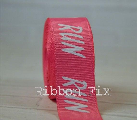 "2 Yards 7/8"" Hot Pink Run Marathon Print Grosgrain Ribbon"