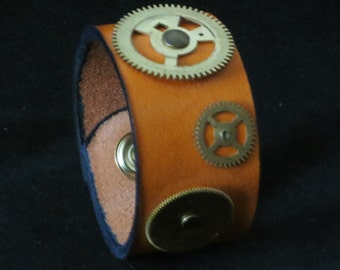 Leather Steampunk Bracelet Leather Cuff Leaher Wristband Clockmaster Unisex Unique
