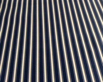 Oilcloth Fabric, PVC Coated, Navy ticking stripe, Per Meter