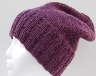 Knitted Slouchy Hat - Burgundy - Convertible Collection - Slouchy Hat - Wool Blend - READY TO SHIP!