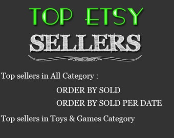 Top Etsy sellers Top selling shops Most popular shop Best sellers Top sellers in Toys  Games Category Top Sellers all Category TOP 1000 SHOP