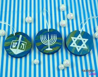 Handmade Stained & Painted Wood Hanukkah Ornament - Set of 3