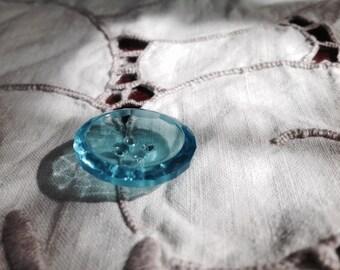 Vintage Czech Glass Button. Aqua Crystal.