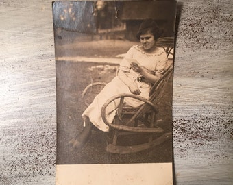 Antique Postcard, Early 1900s Postcard, Vintage Postcard, Old Photograph, Antique Photograph, Picture of Lady, Early 20th Century Photograph