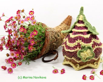 """PDF Knitting Pattern - Pixie Gnome Lace style Hat """"Upside Down Flower"""". One size for 2-5 y.o."""