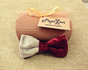 Burgundy Velvet Bow Tie-White