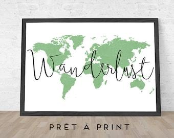 Wanderlust, Wanderlust Print, Travel Poster, Travel Printable, Wall Art Print, Art Digital Print, Travel Map, Gift idea -INSTANT DOWNLOAD-