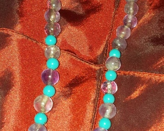 Stunning Turquoise and Amethyst beaded necklace
