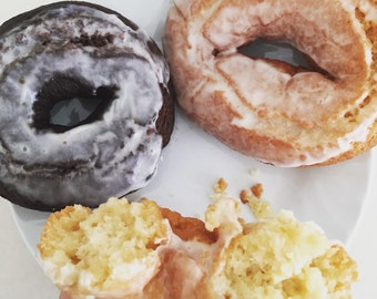 full dozen vegan old fashion glazed cake doughnuts