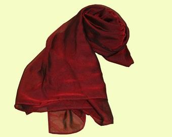 Seidenschal Seidenstola rot schwarz changierend