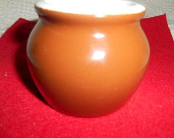 Vintage Hall Pottery Individual Bean Pot Brown / White 461 Made in USA