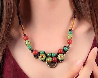 Classic Handmade Glaze/Turquoise/Coral Necklce  (X1397)