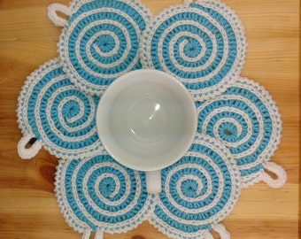 Crochet coasters set Crochet cup stand Mug stands Christmas coasters Kitchen decor Table decor Holiday decor