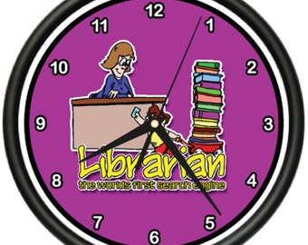 Librarian Wall Clock Library Book Books School Gift