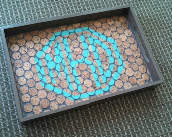 Monogrammed Cork Tile Serving Tray