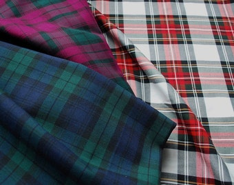 Fat Quarters of Tartan Fabric - Three of the most Popular Patterns - Blackwatch - Stewart - Sewing Projects - UK Seller