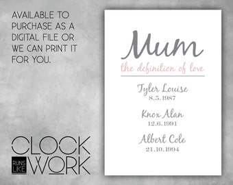 Personalised Mothers Day Print, Milestone, Wall Art, Home Decor, Printed or Digital File Available, Mum - the definition of love