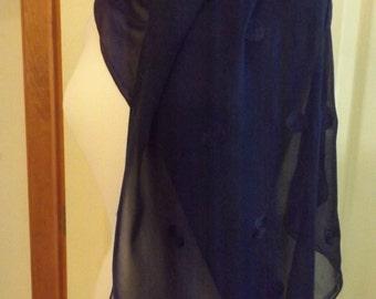 Glentex Navy Blue Sheer Long Scarf,  Women's Accessory, Vintage, Retro Fashion, Birthday,  Made in USA, Wrap,