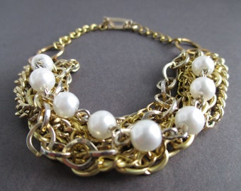 Vintage Gold and Pearl Multi-Chain Bracelet