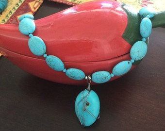 Howlite necklace with Real Turquoise Pendent and wire work