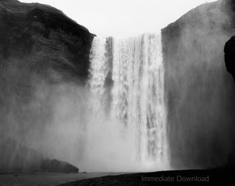 Skógafoss Waterfall Photo | Iceland | Downloadable Landscape | Black and White | Instant Download JPG