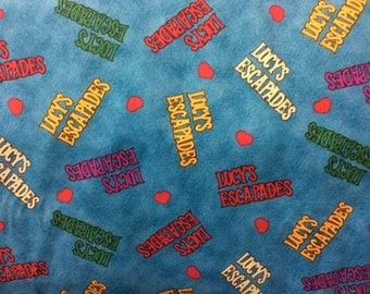 I Love Lucy Fabric/ Lucy's Escapades Fabric/ Rare and Hard To Find/ New/ Sold by the 1/2 Yard
