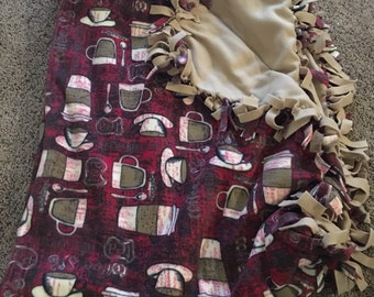 Red and Tan Coffee Tie Blanket