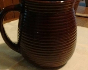 Antique-Monmouth-western-beehive-pitcher-brown-pottery