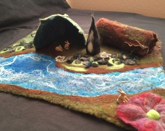 Woodland Gnome Home-Waldorf inspired hand felted play mat