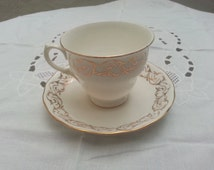 Queen Anne bone china tea cup and saucer, old English bone china cup and saucer, Ridgeway Potteries bone china cup and saucer