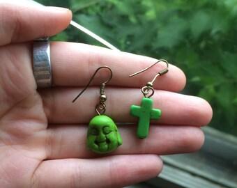 Buddha and cross earring pair