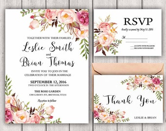 Floral Wedding Invitation Printable Wedding Invitation Suite Rustic Wedding Invite Boho Wedding Invite Peonies Wedding Invite Blush Boho Set