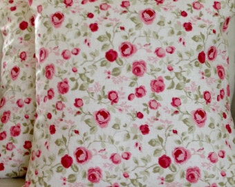 "2 x 16"" (40cm x 40cm)Clarke & Clarke Maude Sage Green Pink Beige Cushion Covers"